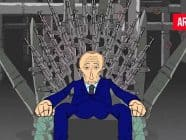 Cartoon showing Putin sitting on a throne made of weapons