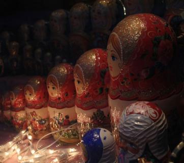 Russian dolls for sale in an Estonian market