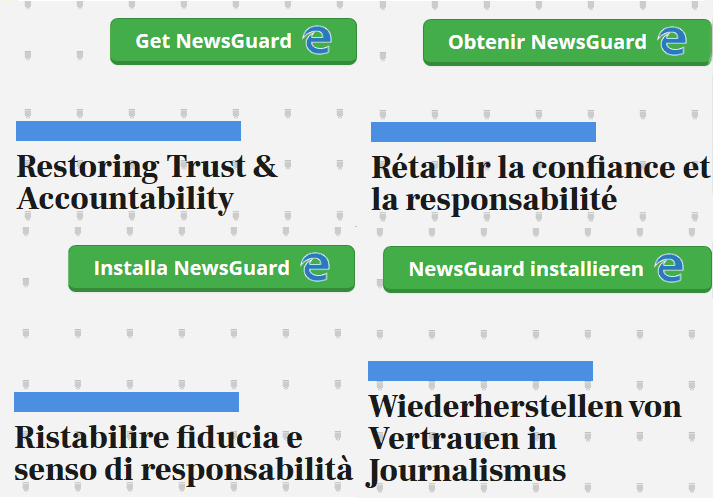 NewsGuard's mission statement in four languages