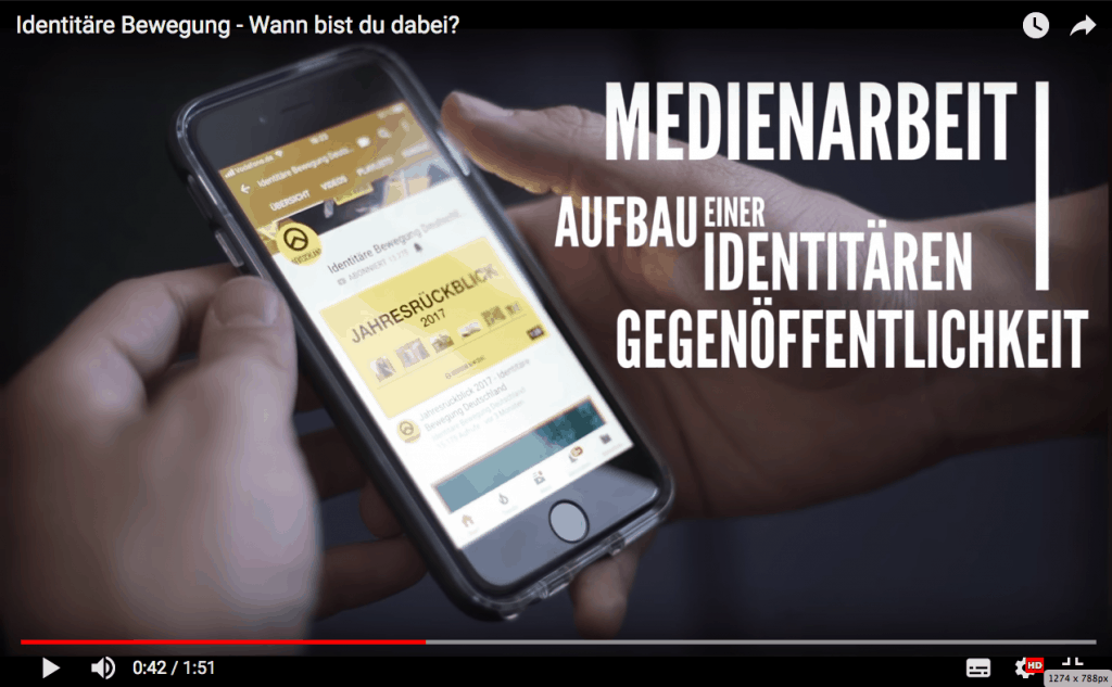 Screenshot from YouTube video posted by Germany's Identitarian Movement