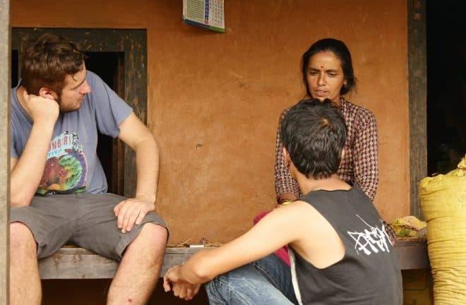 A Bournemouth journalism student talks to an earthquake survivor in Kathmandu