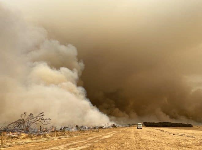 Smoke from a bushfire on Kangaroo Island, Australia