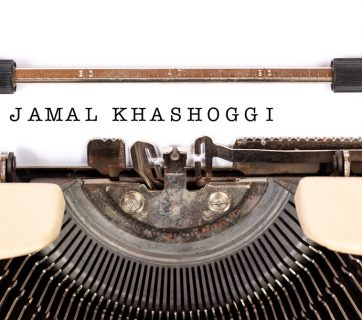 "Typewriter with ""Jamal Khashoggi"" typed on sheet on paper"