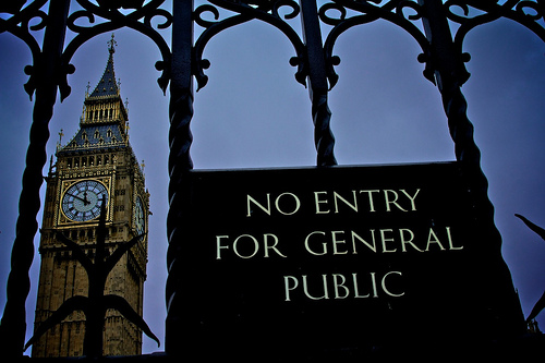 Parliament - no entry for general pubic sign