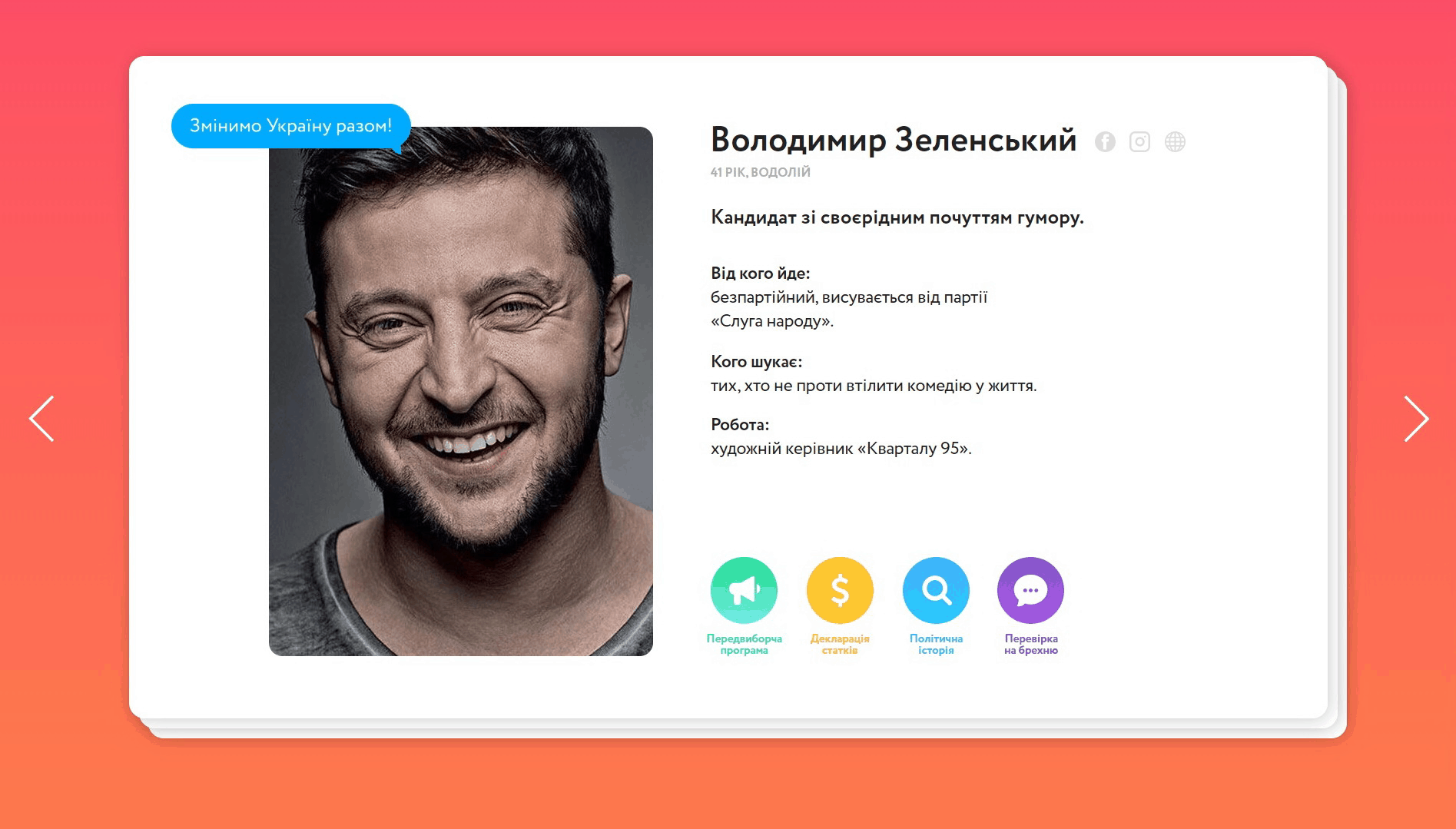 A profile of presidential candidate Volodimir Zelensky presented in the style of Tinder