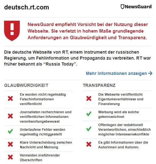 "NewsGuard's ""nutrition label"" for RT Germany"