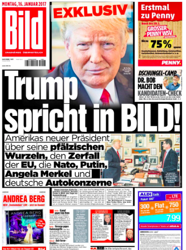 German Bild's interview with Trump changed the tone of European coverage