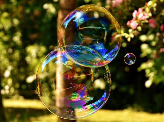 Two overlapping soap bubbles