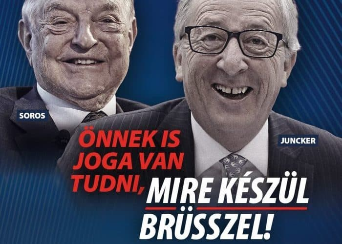 Hungarian government poster showing US philanthropist George Soros and EU Commission chief Jean-Claude Juncker