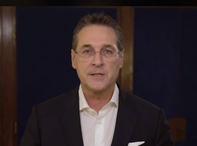 Heinz-Christian Strache making a video statement on his Facebook page