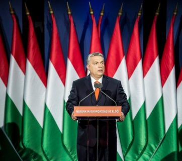 Hungarian prime minister Viktor Orban speaking at a press conference