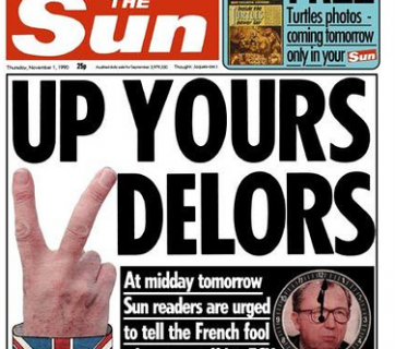Photograph of the front page splash, The Sun newspaper, 1990 by Duncan Hull