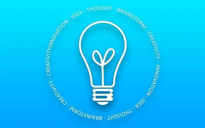 Light bulb encircled by words such as innovation, creativity, thought
