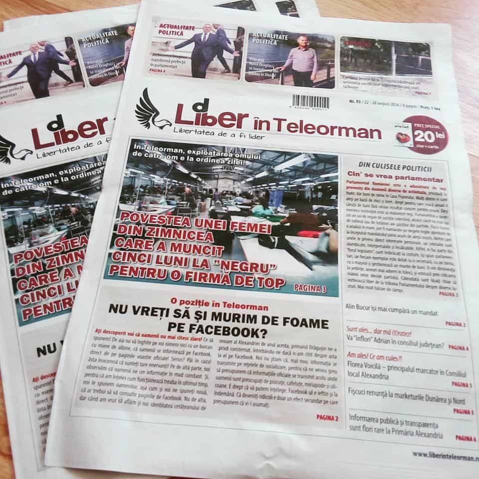 Front page of Romanian local paper Liber in Teleorman