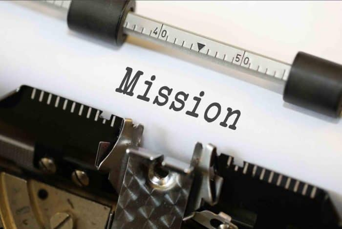 """The word """"Mission"""" on a piece of paper in a typewriter"""